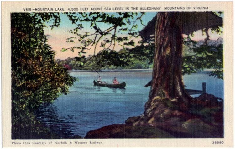 vintage canoe postcard